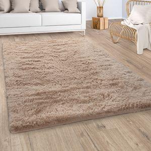Hochflor Teppich Wohnzimmer Fellteppich Kunstfell Shaggy Flauschig Einfarbig Beige, Grösse:Ø 160 cm Rund