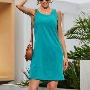 Damen Einfarbig Ärmelloses Minikleid Weste Beiläufig U-Ausschnitt Sommerkleid Midikleid,Farbe:Hellblau,Größe:L