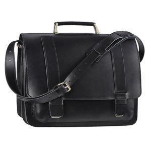Ruitertassen Lehrertasche 40cm XL Büchertasche Schultasche Aktentasche 2 Fächer 1 Vorfach Tragegriff Schultergurt schwarz 2437N-11