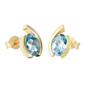 Paar Träne Tropfen Ohrstecker 333 8 Karat Gelbgold Blautopas Damen Ohrringe 9203