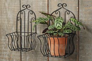 Wandkorb, Blumentopfhalter 2er-Set aus Eisen, 16 x 32 cm und 20 x 35 cm in schwarz