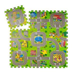 relaxdays Puzzlematte Straße mit Tieren