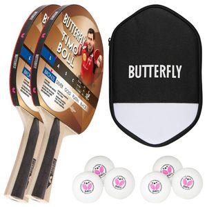 Butterfly 2x Timo Boll Bronze 85011 Tischtennisschläger + Tischtennishülle + 6x 40+ 3*** Bälle