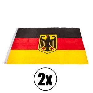 2x Deutschlandflagge Deutschlandfahne mit Alder 150x90cm Gartenfahne Dekofahne Wandfahne Deutschland Germany Fahne Flag Flagge Hissfahne