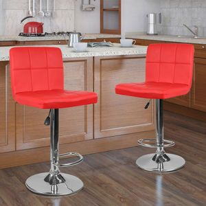 2×Barhocker Barstuhl Tresenhocker Drehstuhl &Lehne Loungesessel Hocker Rot