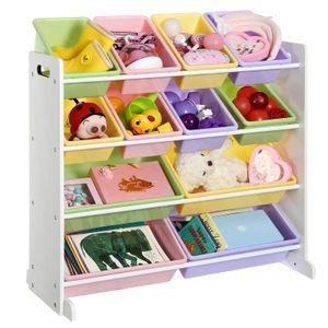 SONGMICS Kinderregal mit 12 Aufbewahrungsboxen Spielzeug-Organizer Standregal für Kinder 86 x 26,5 x 78 cm Pastellfarben Weiß GKR04KL