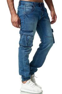 Herren Cargo Hose Classic Chino Denim Jogger Jeans Casual Vintage, Farben:Blau, Größe Jeans:31W
