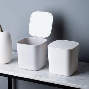 Mini Desktop-Mülleimer mit Deckel Clamshell Papierkorb Lagereimer Abfalleimer Weiß
