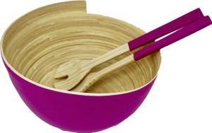 KeMar KitchenwareBambus Salatschüssel | mit Besteck Koralle Pink