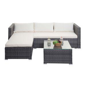 Poly-Rattan Garnitur MCW-F57, Balkon-/Garten-/Lounge-Set Sofa Sitzgruppe  grau, Kissen creme ohne Dekokissen ohne Deko-Kissen