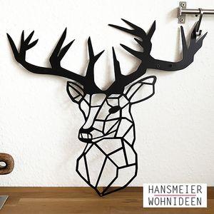 Hansmeier   Wanddeko aus Metall   42 x 47 cm   Hirsch   Deko Industrial