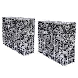 SONGMICS 2 Stück 100 x 80 x 30 cm Steingabione Steinmauer Spalier verzinkt für Gartenzaun robust und korrosionsbeständig Stützmauern GGB283 (2 x GGB183)