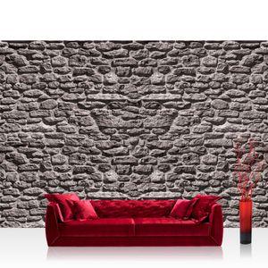 Vlies Fototapete no. 1618 - 416X254 cm - 1618 Steinwand Tapete Stein Steinoptik Steine Wand Wall Steintapete grau liwwing (R)