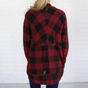 Womens Long Jackets Autumn Irregular Lattice Print Damenmantel Outwear Cardigan Größe:M,Farbe:Rot