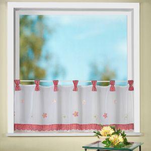 heimtexland ® Scheibengardine Bestickt Blumen Vichy Karo Gardine Landhaus Fenster Deko Typ78 Rot