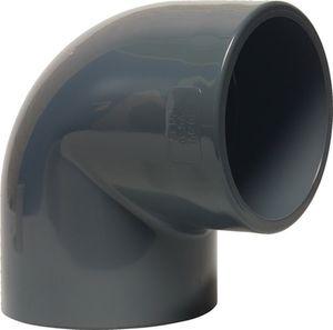 Mega Winkel 90° PVC-U 50 mm Klebemuffe 16 bar Grau