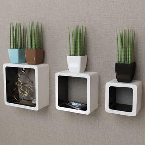 anlund 3er Set MDF Cube Regal Hängeregal für Bücher/DVD, weiß-schwarz