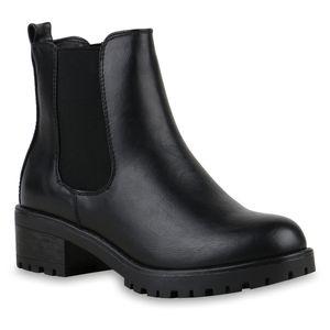 Mytrendshoe Gefütterte Damen Chelsea Boots Plateau Stiefeletten Profilsohle 812331, Farbe: Schwarz, Größe: 39
