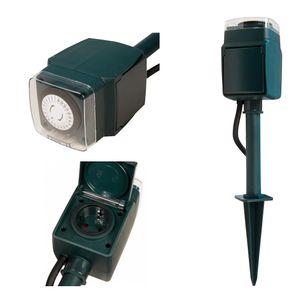 REV Erdspieß mit 2x Steckdose und Zeitschaltuhr mechanisch