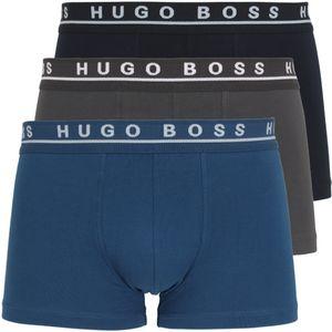 HUGO BOSS Herren Boxershorts 3er Pack, Pants Boxer Trunk 3P - Blau/Schwarz/Grau / Größe: 6 (Gr. Large)