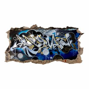 148 Wandtattoo Graffiti blau grau - Loch in der Wand : Größe - 750 x 380 mm
