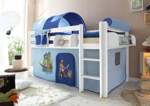 Hochbett Spielbett Malte Kiefer massiv Weiss mit Farbauswahl, Vorhangstoff:Pirat Hellblau Dunkelblau