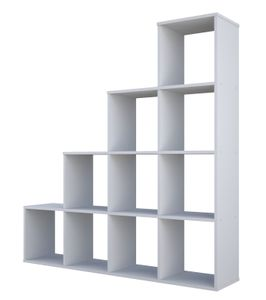 Polini Home Treppenregal Stufenregal Raumteiler Regal weiß 10 Fächer