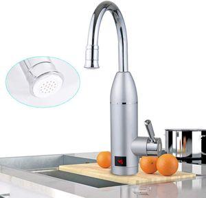 Elektrischer Wasserhahn  3000W Durchlauferhitzer Sofortiger Heizung Wasserhahn Spültisch Armatur 360° Drehung mit Temperaturanzeige für Küche und Bad