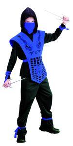 Ninja Kostüm für Kinder, blau, Größe:134/140