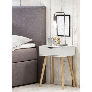 """Möbelfreude Nachtkonsole """"Tjark"""", edler Nachttisch in skandinavischem Design, weiß mit Schublade, 40x30x60 cm"""