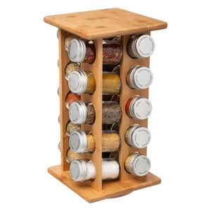 Gewürzständer aus Bambus, 20 Glasbehälter mit Gewürzen