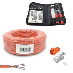 ARLI Verlegekabel Cat7 50m + Netzwerk Werkzeugset + 10x RJ45 Netzwerkstecker