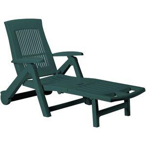 Sonnenliege Zircone Kunststoff Rollen verstellbare Rückenlehne klappbar Gartenliege Rollliege Liegestuhl , Farbe:grün