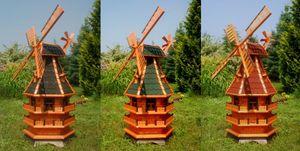 XXL norddeutsche Windmühle mit Beleuchtung Solar 1,50m, Farbe:Dunkel