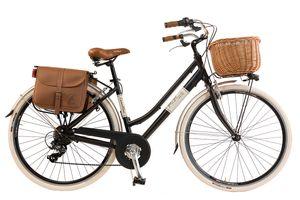 Via Veneto by Canellini Fahrrad Citybike Frau Aluminium mit Korb und Tasche - Schwarz 46