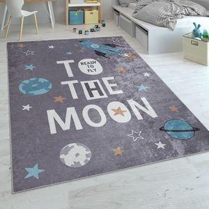 Kinderteppich, Spielteppich Für Kinderzimmer, Mit Raketen-Motiv Und Spruch, Grau, Grösse:140x200 cm