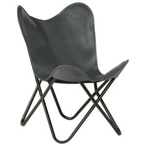 【Neu】Sessel Butterfly Sessel Grau Kindergröße EchtlederMöbel-Stühle-Sessel im Landhaus-Stil