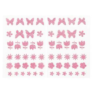 Oblique Unique 58 Blumen Schmetterling Glitzer Aufkleber zum Basteln Spielen Scrapbooking Dekorieren uvm. - rosa