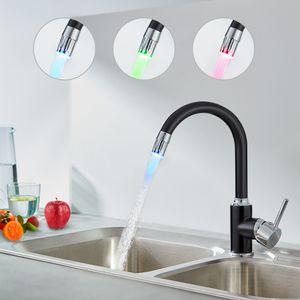 Auralum LED Küchen Wasserhahn Schwarz Armatur 360° schwenkbare Küchenarmatur Hochdruck mit Temperaturanzeige