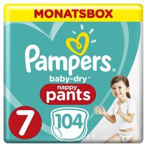 Pampers Baby Dry Pants Gr. 7 Extra Large Plus 17+ kg Monatsbox, 104 Stück - Größe 4 - 104 Stück