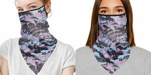 GKA tolles Mundschutztuch mit Ohrschlaufen Camouflage schwarz - türkis Mundschutz Maske Tuch Gesichtsschutz Tuch Multifunktionstuch Schal Bandana