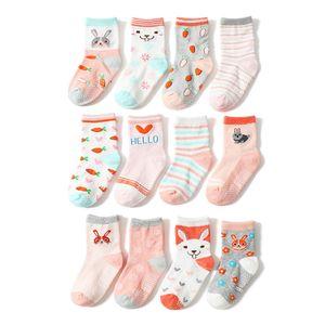 12 Paar Baby Maedchen Socken Anti-Rutsch-Sohle Weiche Baumwolle Elastische Kleinkind Kleinkinder Kindersocken,Mehrfarbig-M