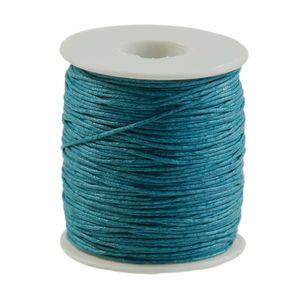 90m gewachste Baumwollschnur 1mm Wachsschnur Schmuckkordel Schnur, Farbwahl, Farbe:petrol
