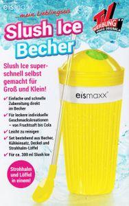 SLUSH ICE BECHER mit Strohalm-Löffel Deckel Frozen Eis Freeze crush 97(Gelb)