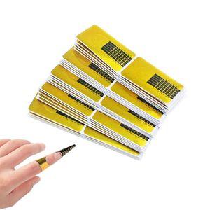 Nagel-Schablonen (200 Stück), Modellier-Schablone selbstklebend für Gel-Nägel & Nagel-Verlängerung Golden Schablonen