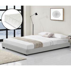 Kunstlederbett mit Kaltschaum-Matratze und Lattenrost 140x200 cm Polsterbett aus Kunstleder mit Matratze  Standard 100 Jugendbett Kunstleder in Weiß Corium