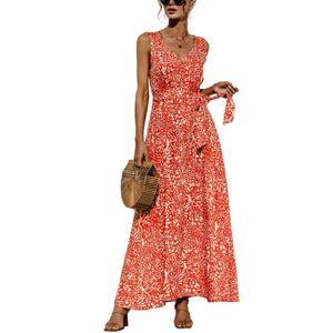 Damen V-Ausschnitt y Sling Leopard Print Kleid Lässiger Langer Rock,Farbe: Orange,Größe:S
