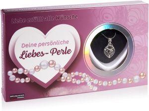 BRUBAKER Wunschperle Liebe - Halskette mit Herz Anhänger + Muschel mit echter Perle als Schmuck Geschenkset