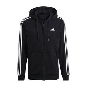 adidas Herren Sport-Jacke Essentials Fleece 3-Streifen Kapuzenjacke schwarz weiß, Größe:S