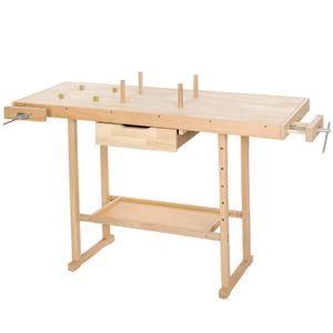 tectake Holz Werkbank mit 2 Schraubstöcken 137 x 50 x 87 cm - braun
